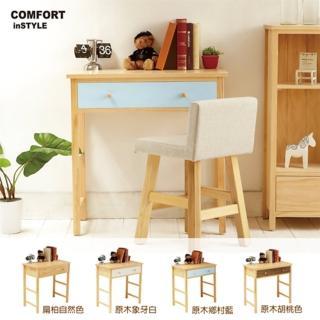 【CiS 自然行】多機能書桌 兩用桌90cm 彩繪款三色可選(彩繪書桌 工作桌 化妝桌 邊桌 90CM桌 實木家具)