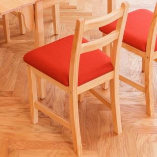 【CiS 自然行】北歐木作椅 扁柏自然色 橘紅色椅墊(泡棉墊 彩色椅墊 木書椅 弧形背部 北歐椅 實木家具)