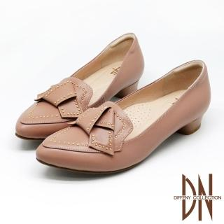 【DN】跟鞋_MIT全真皮蝴蝶結鉚釘點綴尖頭跟鞋(藕粉)