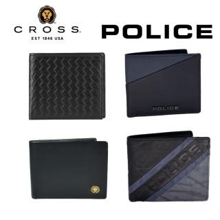 【CROSS】POLICE 雙品牌 限量2折 買1送1  頂級小牛皮男用短夾送名牌小牛皮卡夾(99%新 專櫃展示品)