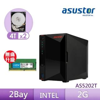 【8G升級組】ASUSTOR AS5202T 搭【TOSHIBA 4TB】2入組 NAS 硬碟+【美光】D4 2400 8G筆記型記憶體