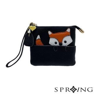 【SPRING】狐狸捉迷藏鑰匙零錢包(經典黑)