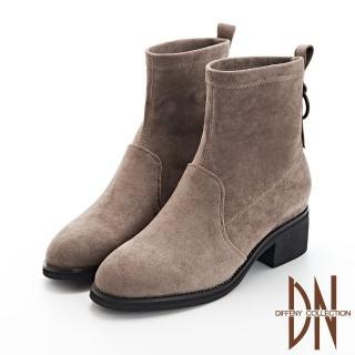 【DN】短靴_仿麂皮素面後環造型粗跟短靴(灰咖)