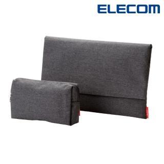 【ELECOM】簡約包內收納袋2入-黑(BM-F02XBK)
