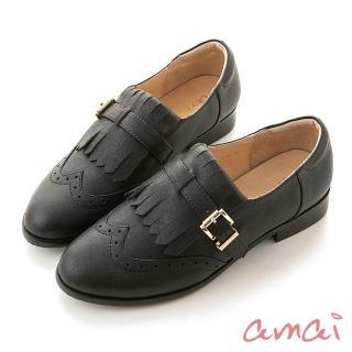 【amai】頂級全真皮-學院風流蘇牛津樂福鞋(黑)