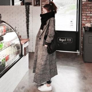 【米蘭精品】毛呢外套長版大衣(經典格子千鳥紋繭型女外套73wd30)
