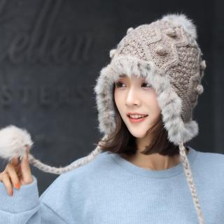 【Acorn 橡果】韓系秋冬保暖護耳加厚毛帽毛球帽1708(卡其)