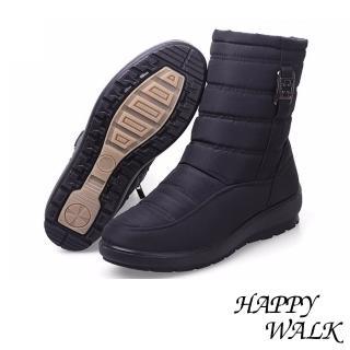 【HAPPY WALK】輕量時尚釦飾雙層防水防滑加厚保暖雪靴(黑)