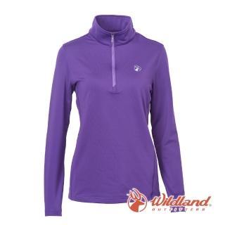 【Wildland 荒野】女 彈性咖啡紗抗菌保暖上衣-紫色 0A62617-53(保暖上衣/長袖上衣/彈性上衣)