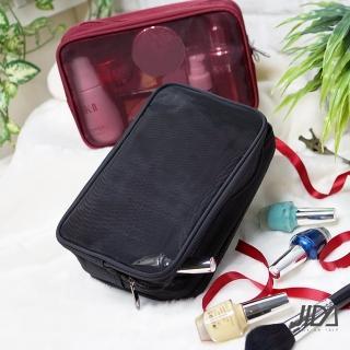 【JIDA】時尚網紗雙層防潑水盥洗收納化妝包(22.5x8.5x15cm)
