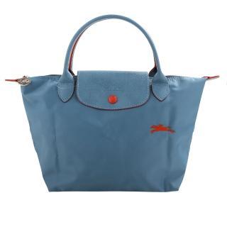 【LONGCHAMP】LE PLIAGE小馬logo短把尼龍手提包(天藍/S)