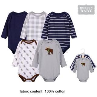 【Luvable Friends】嬰幼兒100%純棉長袖包屁衣5件組_高雅麋鹿(LF53516)