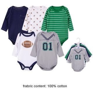 【Luvable Friends】嬰幼兒100%純棉長袖包屁衣5件組_足球1號(LF71656)