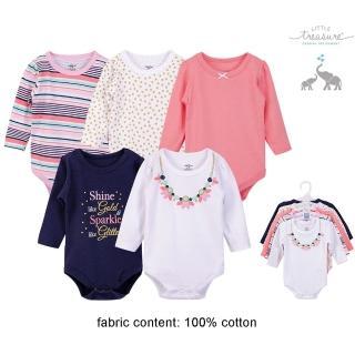 【Luvable Friends】嬰幼兒100%純棉長袖包屁衣5件組_花朵項鍊(LF71663)