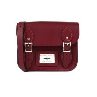 【The Leather Satchel Co.】8.5吋 英國手工牛皮劍橋包 肩背包(葡萄紅)