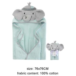 【Luvable Friends】100% 純棉嬰幼兒動物造型連帽浴巾/包巾_調皮灰象(LF00350)