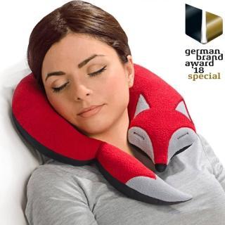 【Leschi 萊思綺】旅行枕頭/辦公室/教室午休枕頭(狐狸造型 -橘紅色)