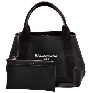 【Balenciaga 巴黎世家】經典NAVY系列帆布牛皮飾邊手提/斜背包(S-黑色339933-AQ38N-1000)