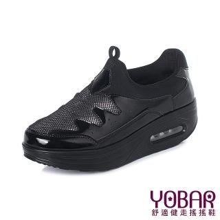 【YOBAR】時尚亮絲布異材質拼接舒適氣墊美腿搖搖鞋(黑)