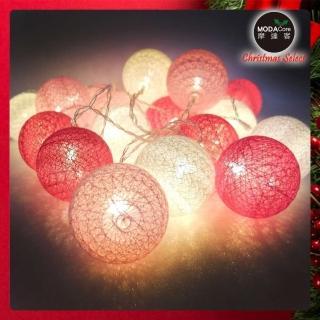 【摩達客】20燈LED絲線網球燈球殼燈-少女粉色系(USB & 電池二用款)