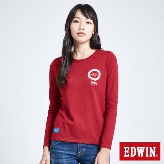 【EDWIN】MODS標靶紅心長袖T恤-女款(朱紅色)