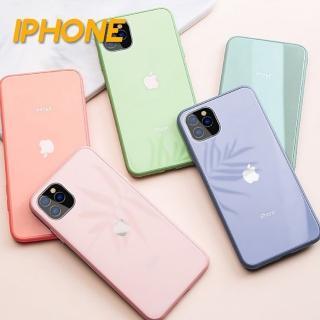 【韓式作風】IPHONE 11/SE二代/X/XS/XR/XS MAX/8/7系列 馬卡龍液態矽膠防摔鋼化玻璃手機殼RCAS673(八色)