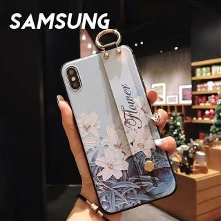 【韓式作風】SAMSUNG S10/S9/S8/NOTE9/NOTE8系列 春季花朵風腕帶支架手機殼RCSAM099(二色)