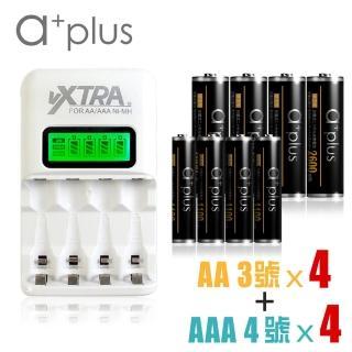 【VXTRA】智慧型LCD大電流充電組(附a+plus 3號池4入+4號電池4入)