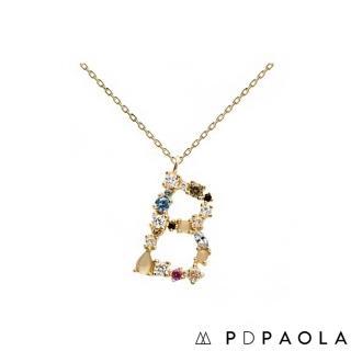 【PDPAOLA】西班牙精品 I AM系列 字母鍍18K金彩鑽項鍊(B)