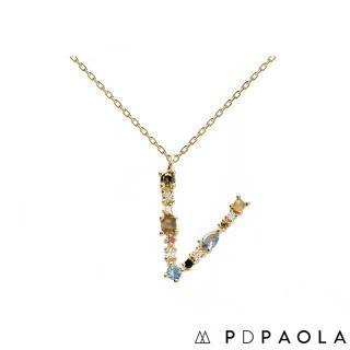 【PDPAOLA】西班牙精品 I AM系列 字母鍍18K金彩鑽項鍊(V)
