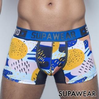 【SUPAWEAR】幾何塗鴉超彈性透氣型男四角內褲(海藍色)
