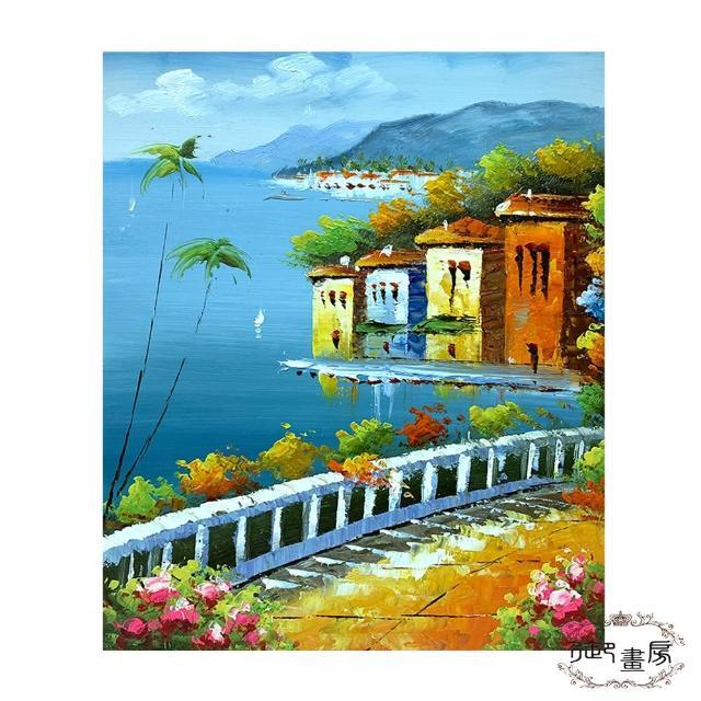 【御畫房】手繪無框油畫-美麗小鎮
