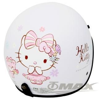 【HELLO KITTY】熊Kitty半罩式機車安全帽-白色+抗uv短鏡片+6入安全帽內襯套