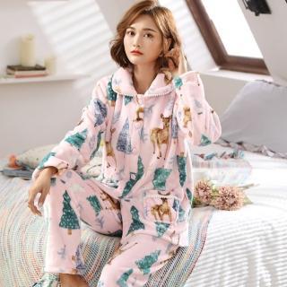 【Jimmy&Wang】甜裝珊瑚絨開襟睡衣套裝 - 二款可選