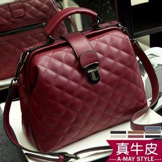 【Amay Style 艾美時尚】真皮輕量手提肩背復古醫生包(7色.現貨)
