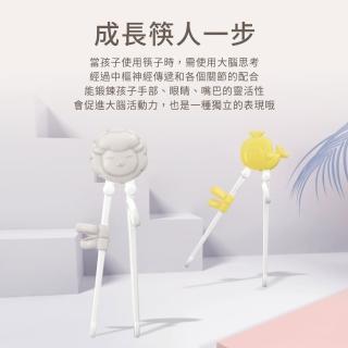 【PUKU 藍色企鵝】動物學習筷(河馬/綿羊/鯨魚)