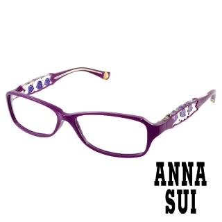 【ANNA SUI 安娜蘇】經典紫薔薇祕密花園造型眼鏡(紫色 AS519-1700)