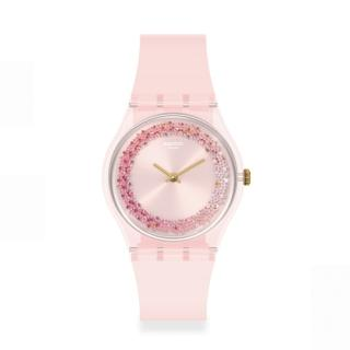 【SWATCH】Essentials系列手錶 KWARTZY 粉彩紅(34mm)
