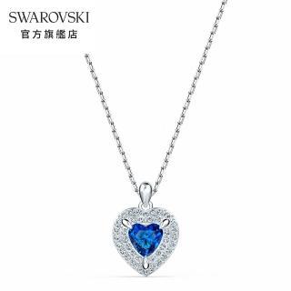 【SWAROVSKI 施華洛世奇】One 白金色藍水晶愛心鏈墜