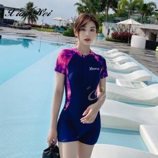 【小薇的店】時尚流行四角連身短袖泳裝(NO.191-80B41)