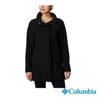 【Columbia 哥倫比亞】女款-長版針織外套-黑色(UAR13330BK / 保暖.長版.針織)