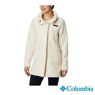 【Columbia 哥倫比亞】女款-長版針織外套-米白(UAR13330BG / 保暖.長版.針織)