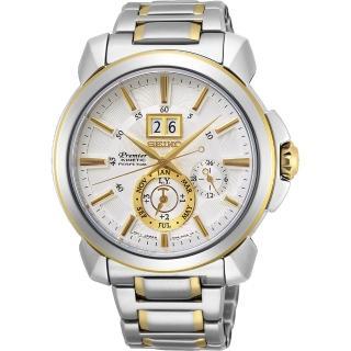 【SEIKO 精工】Premier人動電能萬年曆手錶-銀x雙色(7D56-0AG0K  SNP166J1)