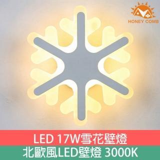 【Honey Comb】LED 17W 北歐風雪花壁燈-3000k 系列燈款(GM-2220-17)
