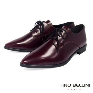 【TINO BELLINI 貝里尼】義大利進口細緻質感牛皮綁帶皮鞋VI8502(酒紅)