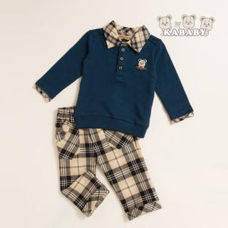 【金安德森】KA假兩件式經典格男童套裝(藍色)