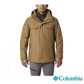 【Columbia 哥倫比亞】男款-Omni-TECH 兩件式防水保暖外套- 棕色(UWE14890BN / 防水.保暖.透氣)