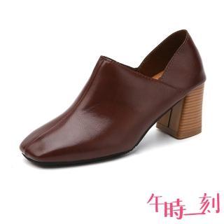 【午時一刻】個性小方頭純色皮面質感高跟踝靴(棕)