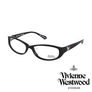 【Vivienne Westwood】施華洛世奇鑽土星點綴款光學眼鏡(黑 VW260_01)