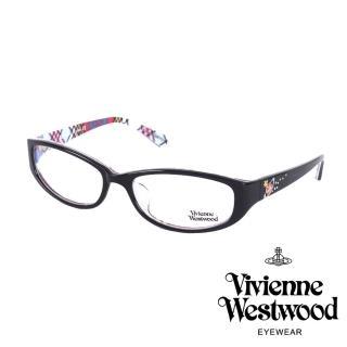 【Vivienne Westwood】施華洛世奇鑽土星點綴款光學眼鏡(黑/格紋 VW260_02)